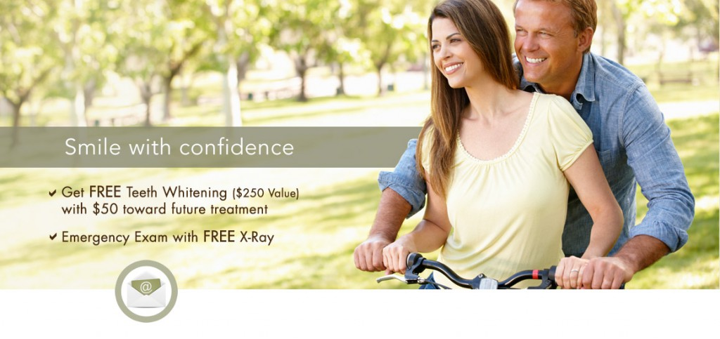 Smile with Confidence. Get Free Teeth Whitening (0 Value) with towards future treatment. Emergency Exam with Free X-Ray.